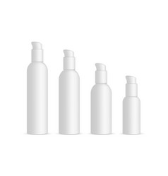 Plastic cosmetic bottles with dispenser pump vector