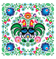 Polish floral folk art square pattern vector