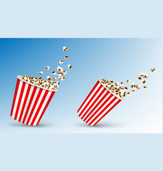 pop corn flying out carton striped package vector image