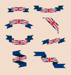 Ribbons or banners in colors of uk flag vector