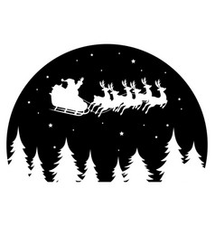 Santa claus flying in a sleigh drawn deer over vector