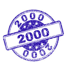 scratched textured 2000 stamp seal vector image