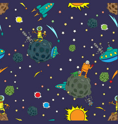Seamless background space rockets and ufos stars vector