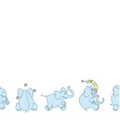 seamless border cute cartoon elephants vector image