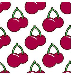 seamless pattern cherries fruit food on white vector image