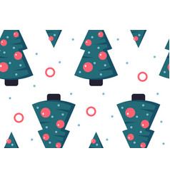seamless pattern with christmas trees flat style vector image
