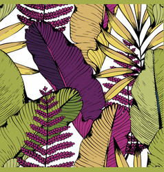 seamless pattern with tropical branches and vector image