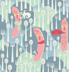 Seamless Sausages pattern vector