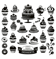 Set of desserts design elements vector
