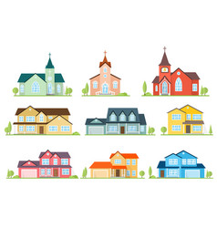 set of flat icon suburban american houses and vector image