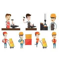 Set of industrial workers vector