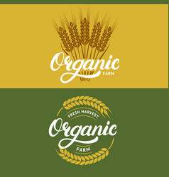 set of organic farm hand written lettering logos vector image vector image
