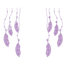 silhouette beauty feathers hanging to design vector image