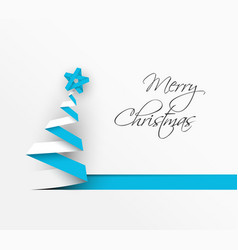 simple christmas tree made from blue paper stripe vector image