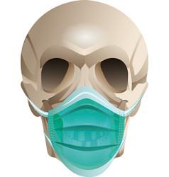 Skull head in medical mask virus protection vector