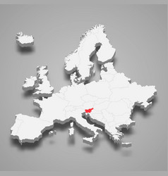 slovenia country location within europe 3d map vector image