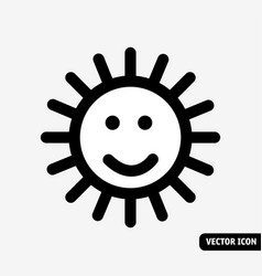 smile sun no fade symbol black and white icon vector image