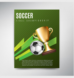 soccer poster on green background with ball and vector image