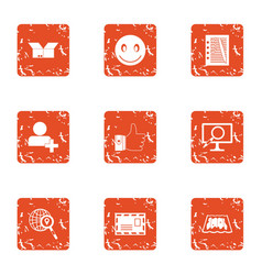 Sourcing icons set grunge style vector