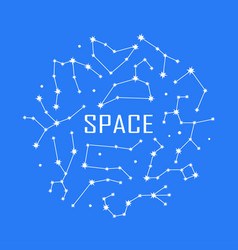 space poster with zodiac constellation symbols and vector image