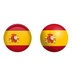 spain flag under 3d dome button and on glossy vector image