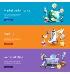 Start up marketing flat banners set vector