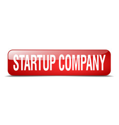 Startup company red square 3d realistic isolated vector