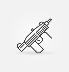submachine gun line icon smg military weapon vector image
