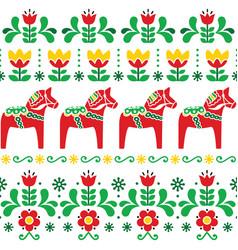 Swedish dala horse pattern scandinavian style vector