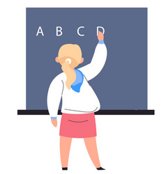 teacher or student writing on blackboard at school vector image