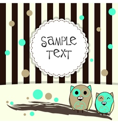 Template postcard with two cute owls vector image