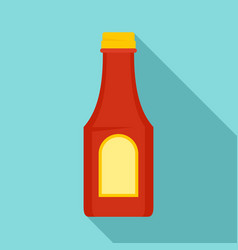 Tomato ketchup bottle icon flat style vector