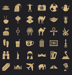 Tour icons set simple style vector