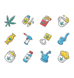 Weed products color icons set marijuana vector