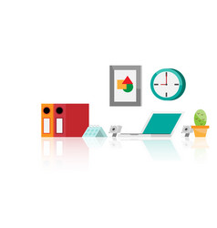 working place with office supplies vector image