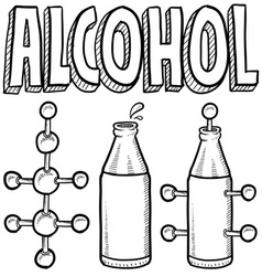 doodle science molecule alcohole bottle vector image