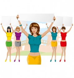 girl with empty board vector image vector image