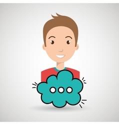 man cartoon cloud speack chat vector image