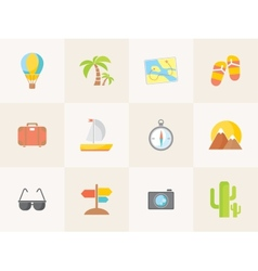 summer icons Flat design trend vector image vector image