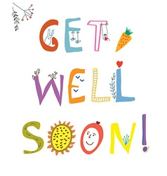Get well soon card with funny lettering and vector image
