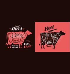 meat cut charts food butcher shop beef concept vector image vector image