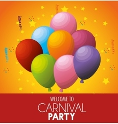 welcome carnival party celebration balloons stars vector image