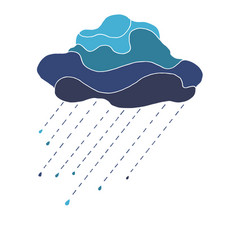 beautiful in blue tones cloud with raindrops vector image vector image