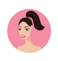 beautiful young woman with ponytail hairstyle vector image vector image