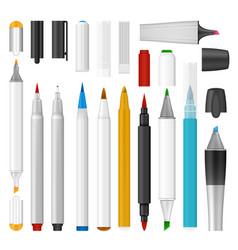 Felt-tip pen marker mockup set realistic style vector
