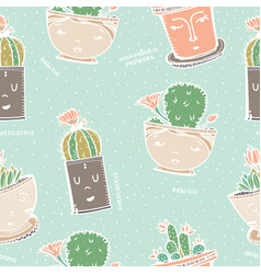 seamless pattern with cactus in pot with face vector image vector image