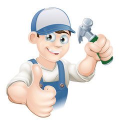 thumbs up carpenter or builder vector image