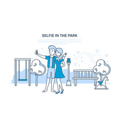 couple doing a variety of fun selfie in the park vector image vector image