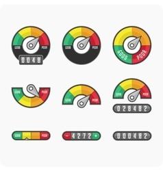 Credit score indicators and gauges vector image