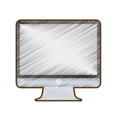 drawing computer screen monitor technology vector image
